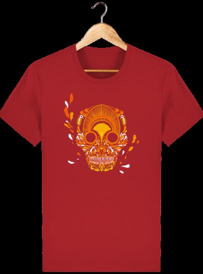 T Shirt Mexique - Breizh Skull - La Calavera Bretaña - Red - Face