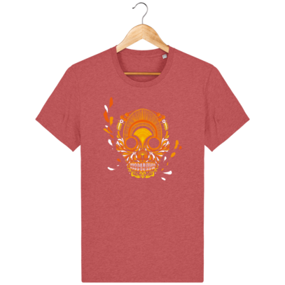T Shirt Mexique - Breizh Skull - La Calavera Bretaña - Mid Heather Red - Face