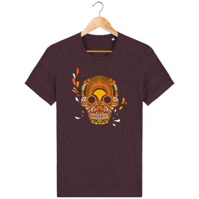 T Shirt Mexique - Breizh Skull - La Calavera Bretaña - Heather Grape Red - Face