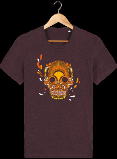 T Shirt Mexique - Breizh Skull - La Calavera Bretaña - Heather Grape Red - Face