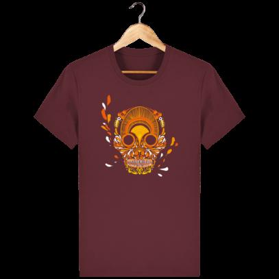 T Shirt Mexique - Breizh Skull - La Calavera Bretaña - Burgundy - Face
