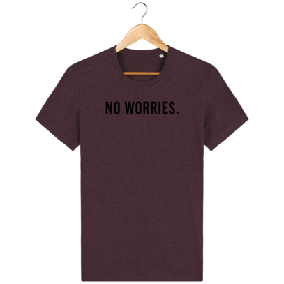 T Shirt 100% coton Australie - No worries - Heather Grape Red - Face