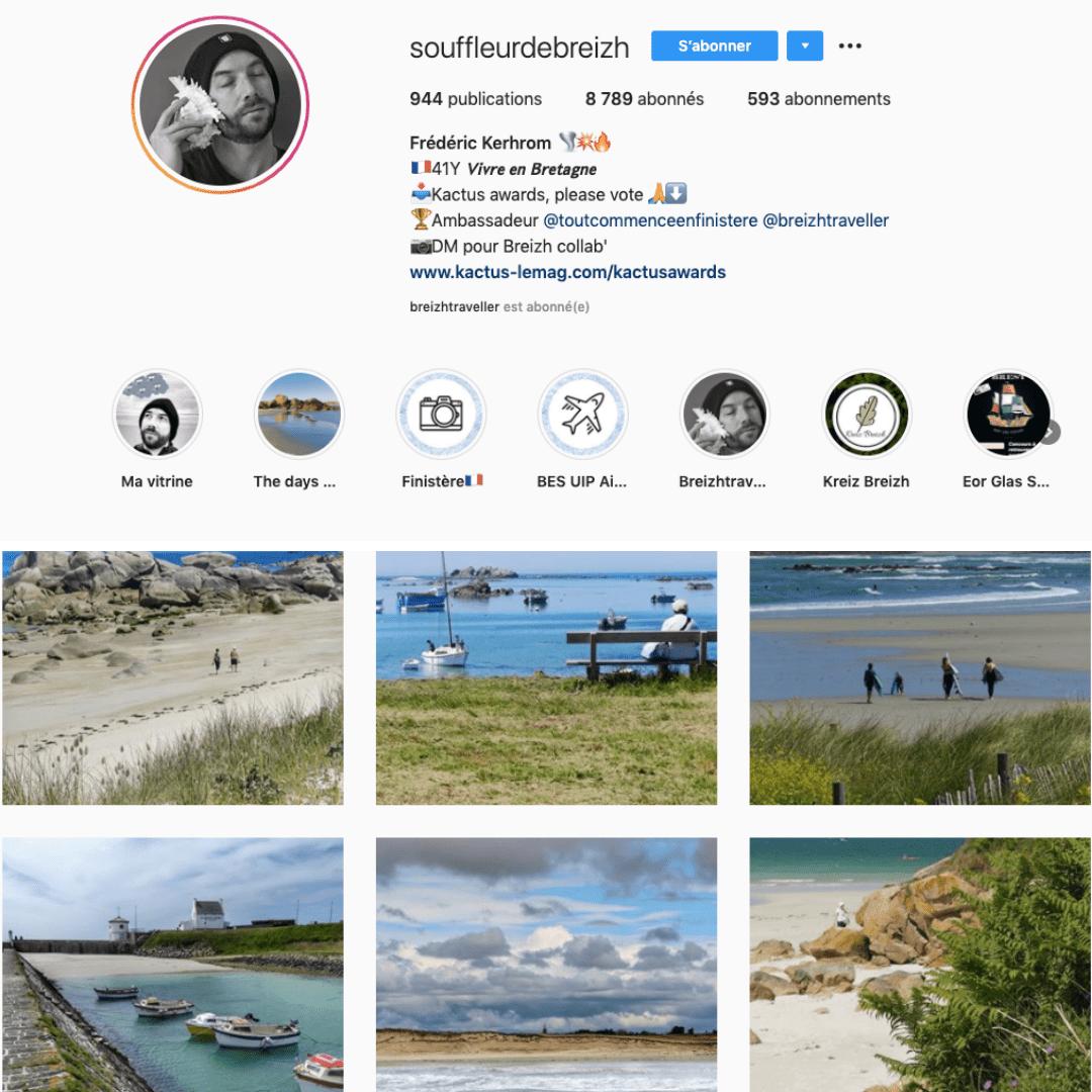 Réseau Instagram de @souffleurdebreizh. Explorateur ambassadeur de la marque bretonne Breizh Traveller. Influenceur Breton Frédéric Kerhrom