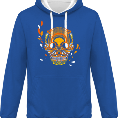 Hoodie 80% coton Breizh Skull  - KARIBAN Light Royal Blue / White - Face