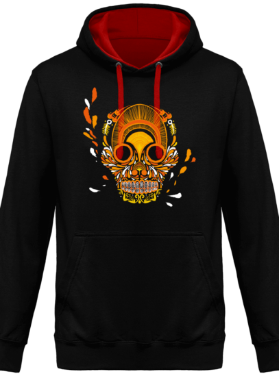 Hoodie 80% coton Breizh Skull  - KARIBAN Black / Red - Face