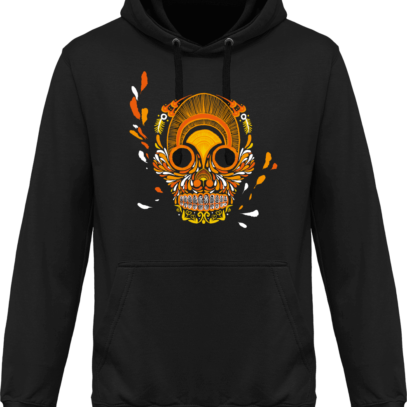 Hoodie 80% coton Breizh Skull  - KARIBAN Dark Grey / Black - Face