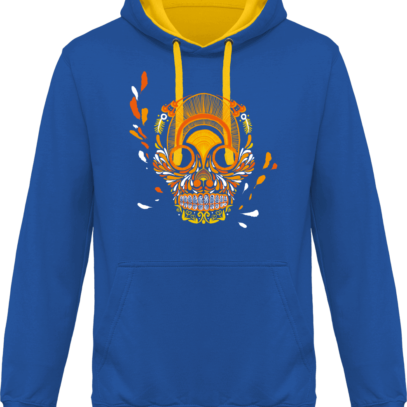 Hoodie 80% coton Breizh Skull  - KARIBAN Light Royal Blue / Yellow - Face