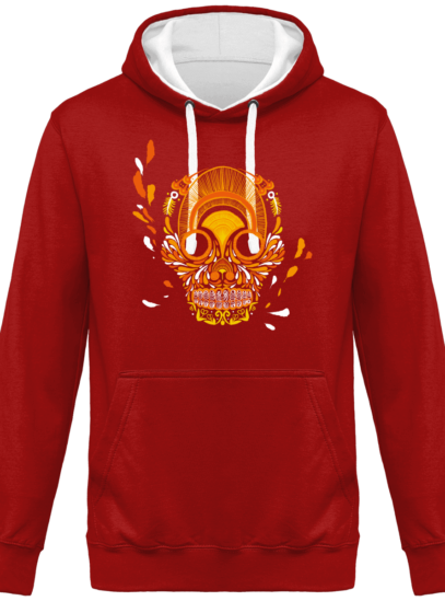 Hoodie 80% coton Breizh Skull  - KARIBAN Red / White - Face