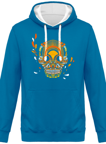 Hoodie 80% coton Breizh Skull  - KARIBAN Tropical Blue / White - Face