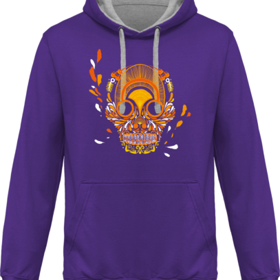 Hoodie 80% coton Breizh Skull  - KARIBAN Purple / Oxford Grey - Face