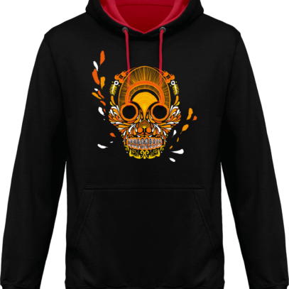 Hoodie 80% coton Breizh Skull  - Jet Black / Fire Red - Face