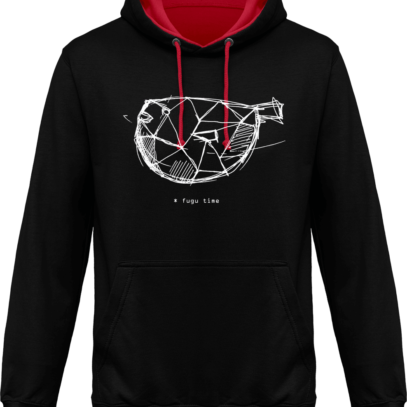 Hoodie 80% coton Fugu Time - Jet Black / Fire Red - Face