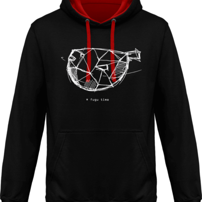 Hoodie 80% coton Fugu Time - KARIBAN Black / Red - Face