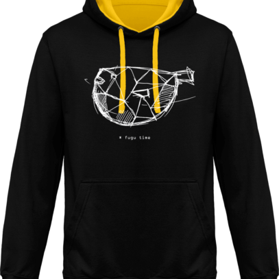 Hoodie 80% coton Fugu Time - KARIBAN Black / Yellow - Face