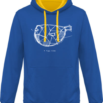 Hoodie 80% coton Fugu Time - KARIBAN Light Royal Blue / Yellow - Face