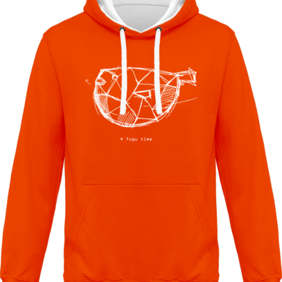 Hoodie 80% coton Fugu Time - KARIBAN Orange / White - Face