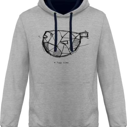 Hoodie 80% coton Fugu Time - KARIBAN Oxford Grey / Navy - Face