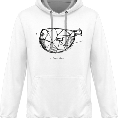 Hoodie 80% coton Fugu Time - KARIBAN White / Fine Grey - Face