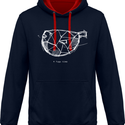 Hoodie 80% coton Fugu Time - KARIBAN Navy / Red - Face