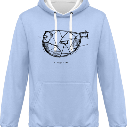 Hoodie 80% coton Fugu Time - KARIBAN Sky Blue / White - Face