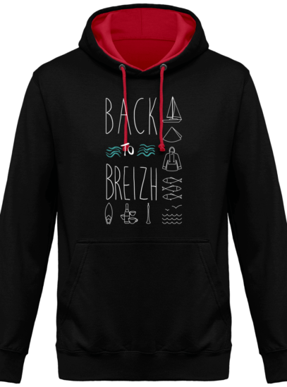 Hoodie 80% coton Back to Breizh  - Jet Black / Fire Red - Face