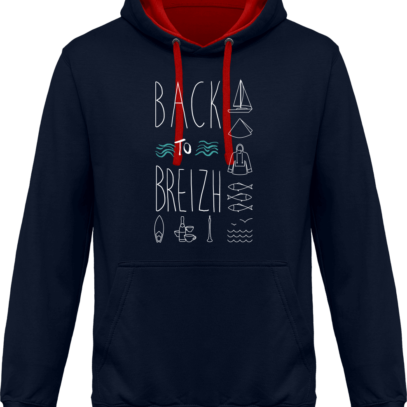 Hoodie 80% coton Back to Breizh  - KARIBAN Navy / Red - Face