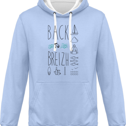 Hoodie 80% coton Back to Breizh  - KARIBAN Sky Blue / White - Face