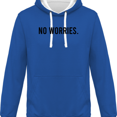 Hoodie 80% coton bio No Worries - KARIBAN Light Royal Blue / White - Face