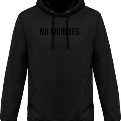 Hoodie 80% coton bio No Worries - KARIBAN Dark Grey / Black - Face