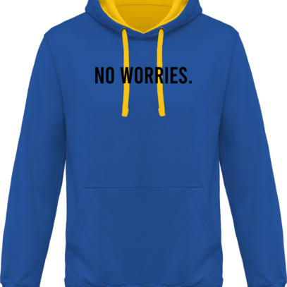 Hoodie 80% coton bio No Worries - KARIBAN Light Royal Blue / Yellow - Face