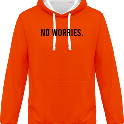 Hoodie 80% coton bio No Worries - KARIBAN Orange / White - Face