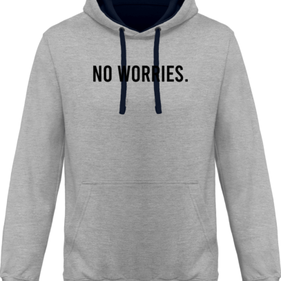 Hoodie 80% coton bio No Worries - KARIBAN Oxford Grey / Navy - Face