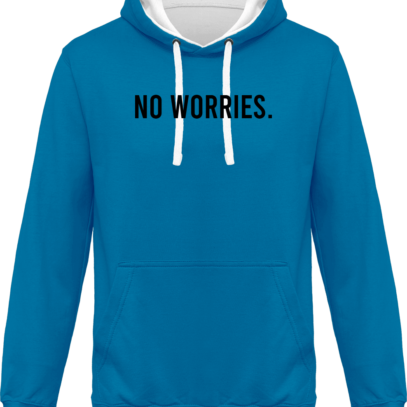 Hoodie 80% coton bio No Worries - KARIBAN Tropical Blue / White - Face