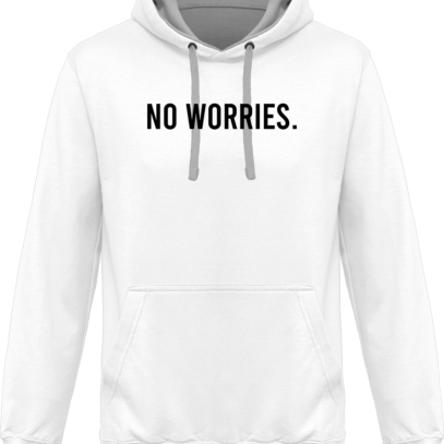 Hoodie 80% coton bio No Worries - KARIBAN White / Fine Grey - Face