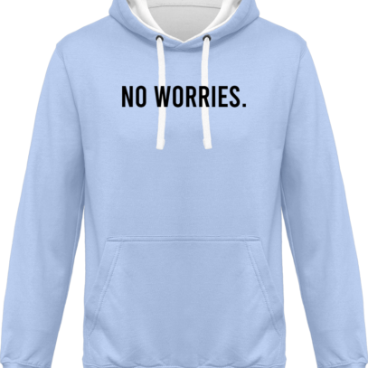Hoodie 80% coton bio No Worries - KARIBAN Sky Blue / White - Face