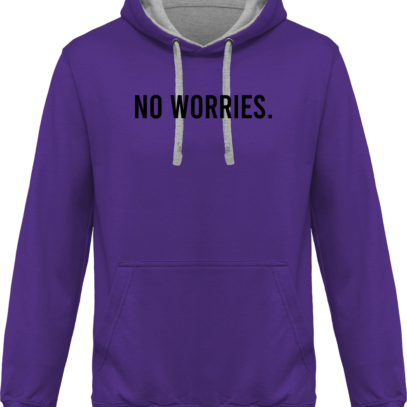 Hoodie 80% coton bio No Worries - KARIBAN Purple / Oxford Grey - Face