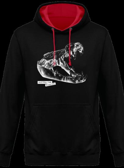 Hoodie 80% coton Crocodile - Australian Puppies - Jet Black / Fire Red - Face