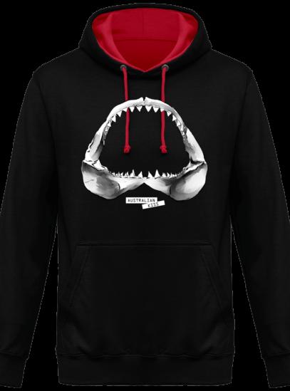 Hoodie 80% coton Requin - Australian Kiss - Jet Black / Fire Red - Face