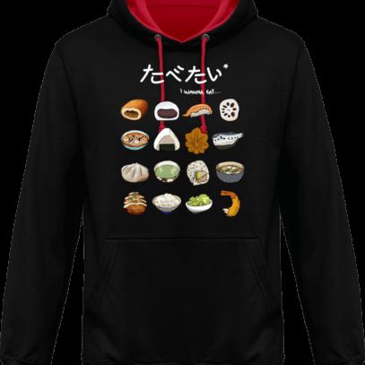 Hoodie 80% coton Gastronomie Japonaise - Jet Black / Fire Red - Face