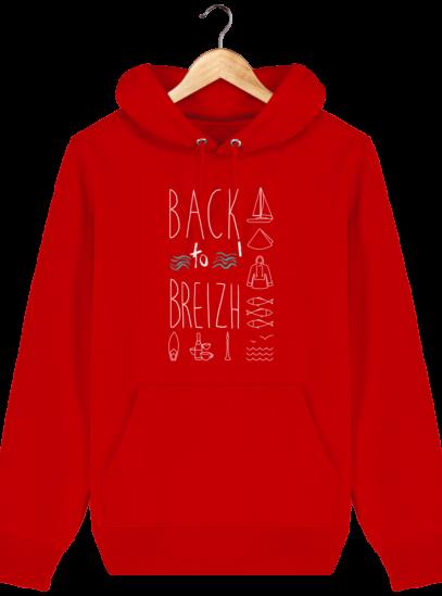 Sweat capuche Unisexe Breton Back to Breizh - Bright Red - Face