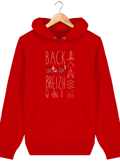 Sweat capuche Unisexe Breton Back to Breizh - Bright Red - Face