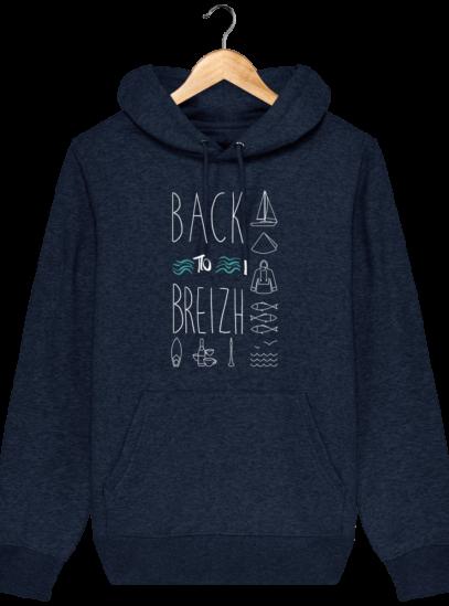 Sweat capuche Unisexe Breton Back to Breizh - Black Heather Blue - Face
