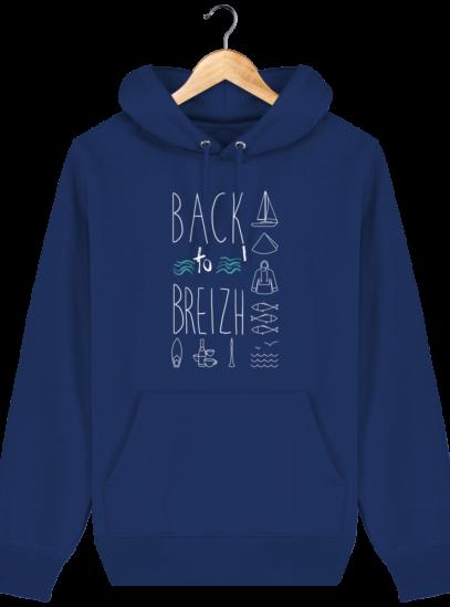 Sweat capuche Unisexe Breton Back to Breizh - Majorelle Blue - Face