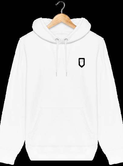 Sweat à capuche Unisexe Broderie Logo Hermine - White - Face