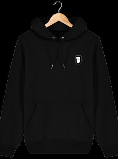 Sweat à capuche Unisexe Broderie Logo Hermine - Black - Face