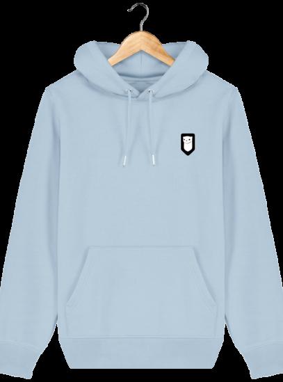 Sweat à capuche Unisexe Broderie Logo Hermine - Sky blue - Face