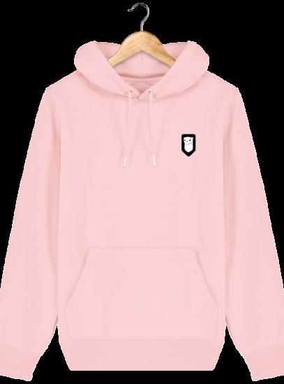 Sweat à capuche Unisexe Broderie Logo Hermine - Cotton Pink - Face