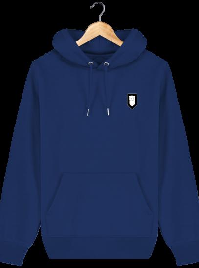 Sweat à capuche Unisexe Broderie Logo Hermine - Majorelle Blue - Face