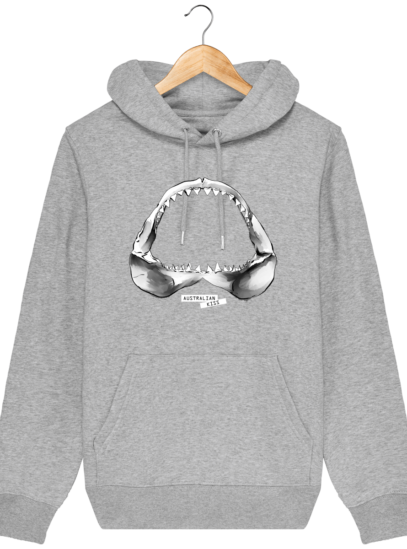 Sweat à capuche Unisexe Requin - Heather Grey - Face