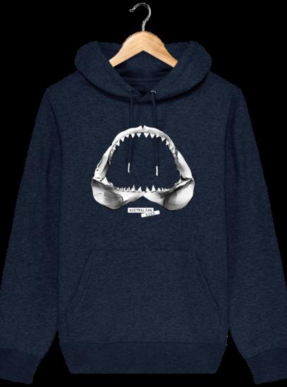 Sweat à capuche Unisexe Requin - Black Heather Blue - Face